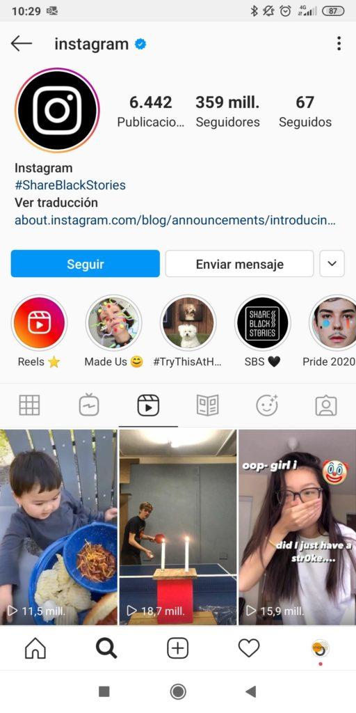 Compartir Instagram Reels